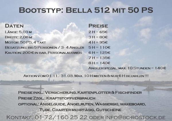 Fiskado - bootscharter rostock preise bella 2018 600x423 - Bootscharter Rostock: Bootsverleih - geführte Bootstouren - Bootsservice - bootsverleih, bootstouren, bootsservice, angelausflug