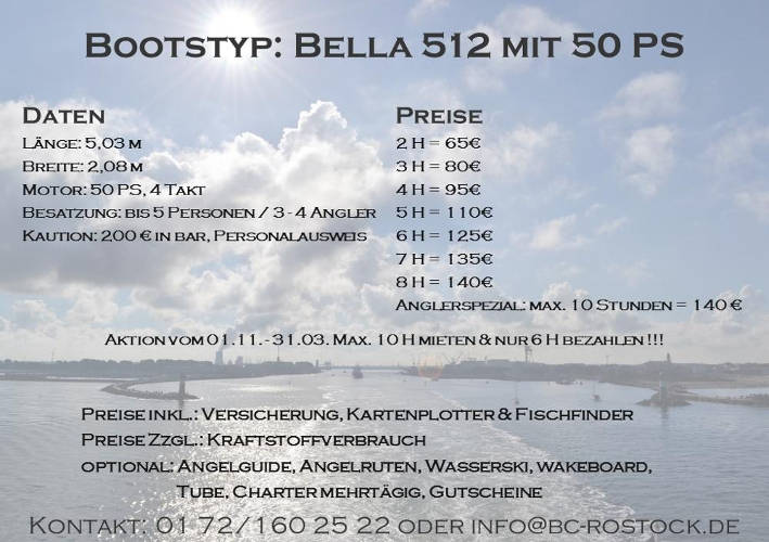 Fiskado - bootscharter rostock preise bella 2018 - Bootscharter Rostock: Bootsverleih - geführte Bootstouren - Bootsservice - bootsverleih, bootstouren, bootsservice, angelausflug