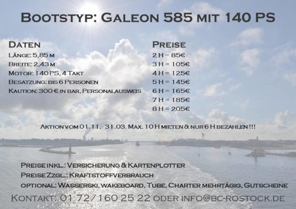 Fiskado - bootscharter rostock preise galeon 140 2018 600x423 - Bootscharter Rostock: Bootsverleih - geführte Bootstouren - Bootsservice - bootsverleih, bootstouren, bootsservice, angelausflug